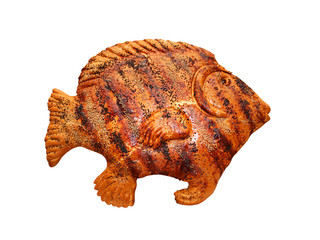 Bread in the form of a fish isolated on white background