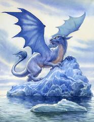 Дракон. Картина акварелью.