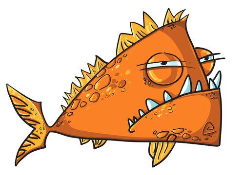 Big angry fish cartoon