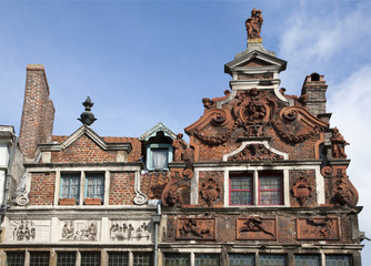 Gent - The facade of typical old houses