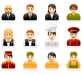 Hotel and restaurant staff glossy icon set