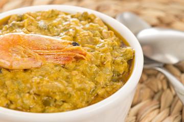 Caruru -  Brazilian stew with okra, shrimp, palm oil & nuts