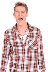 joyful young man yelling