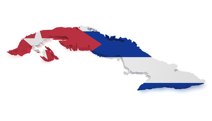 Cuba Map 3d Shape