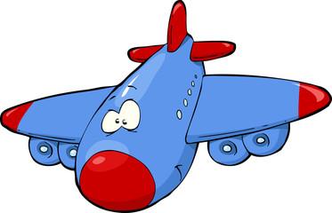 Spoed Fotobehang Vliegtuigen, ballon Cartoon airplane
