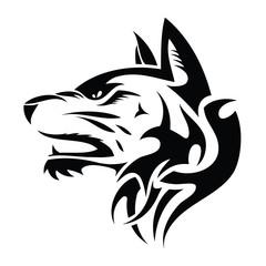 Wolf head - tribal tattoo illustration