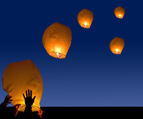 lanterns launch at night