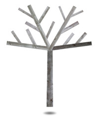 wooden tree made of splat for fill object or photo
