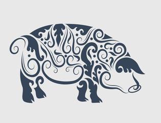 Pig tattoo design