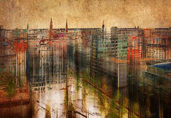 Hamburg skyline, Mischtechnik