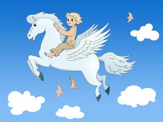 Fotobehang Pony Pegasus and the boy
