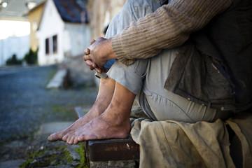 Homeless man feet