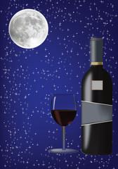 bottiglie e calice di vino-bottles and glass of wine