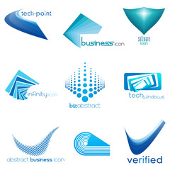 set of abstract business & technology icons