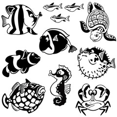 set with fishes black and white