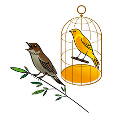 Wall Murals Birds in cages Nightingale and Canary in the golden cage