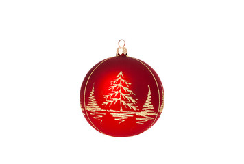 Red christmas decoration ball isolated on white