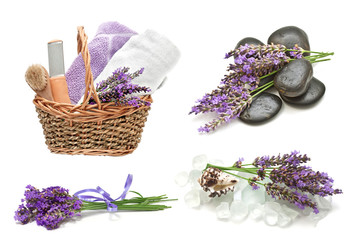 Spa  set with a lavender on a white background