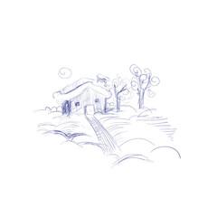 Winter Landscape Hand Drawn