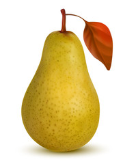 Ripe yellow pear on white background.