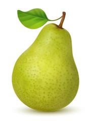 Big green pear with leaf