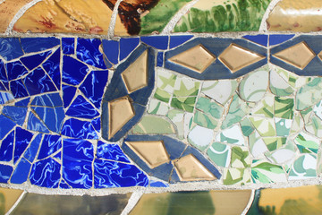 Mosaics decoration at Park Guell in Barcelona, Spain