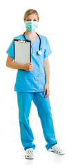 Woman in medical doctor uniform holding clipboard