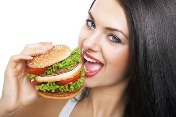 close-up portrait of girl and hamburger