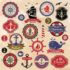 Collection of vintage retro nautical labels, badges and icons