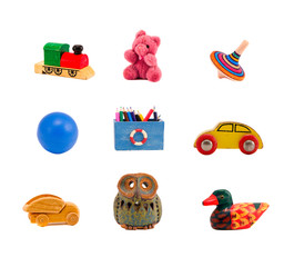 assorted toys collection isolated on white background