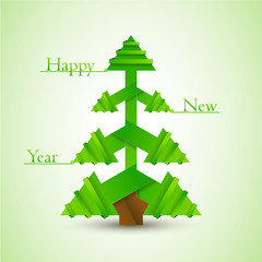 New year card / Origami paper tree