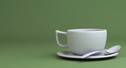 white Coffee cup and spoon on geen background