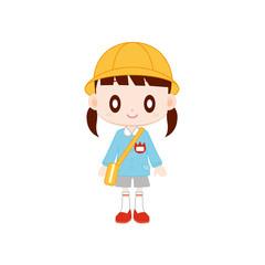 保育園児 女の子 黄色の帽子
