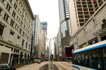 Hong Kong street view with buildings
