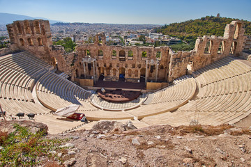 Spoed Fotobehang Athene ancient theatre under Acropolis of Athens, Greece
