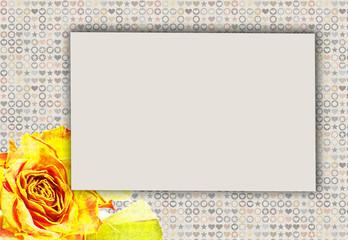 Hintergrund mit Textfeld und Rose