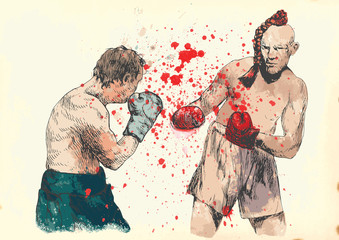Boxing duel. Hand drawing into vintage vector