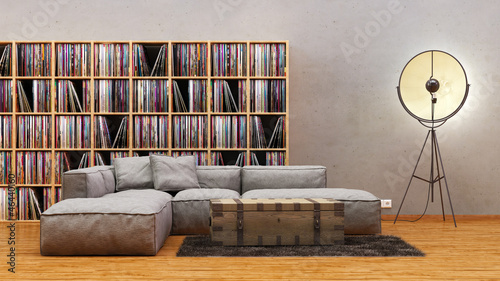 rustikales apartment im vintage loft stil mit vinyl regalen - Loft Stil