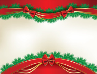 Christmas background with  pine and ribbons