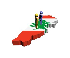 Meeting on Lebanon map flag illustration