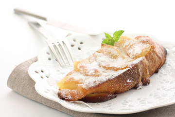 french toast of baked apple for gourmet breakfast image