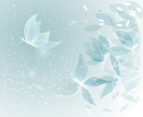 Winter Leaves like Snow Butterflies / Surreal sketch
