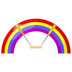 Cartoon rainbow swing. eps10