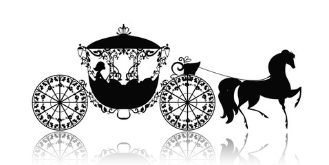 vintage silhouette of a horse carriage