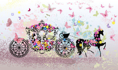 Recess Fitting Floral woman vintage floral carriage