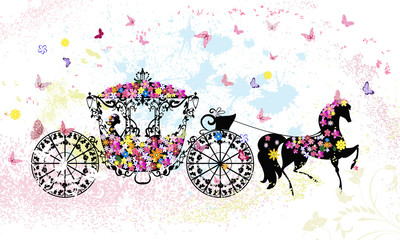 Wall Murals Floral woman vintage floral carriage