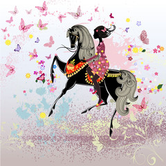 Printed roller blinds Floral woman Beautiful Girl riding a horse