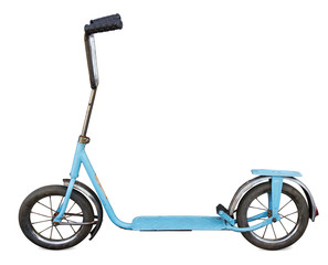 Old scooter isolated. Clipping path included.