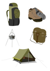 Set of hike and tourism equipment isolated on white background