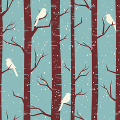 Door stickers Birds in the forest Winter Forest Seamless Pattern